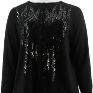 NWT BOB MACKIE BUTTON FRONT BLK SEQUIN CARDIGAN XS